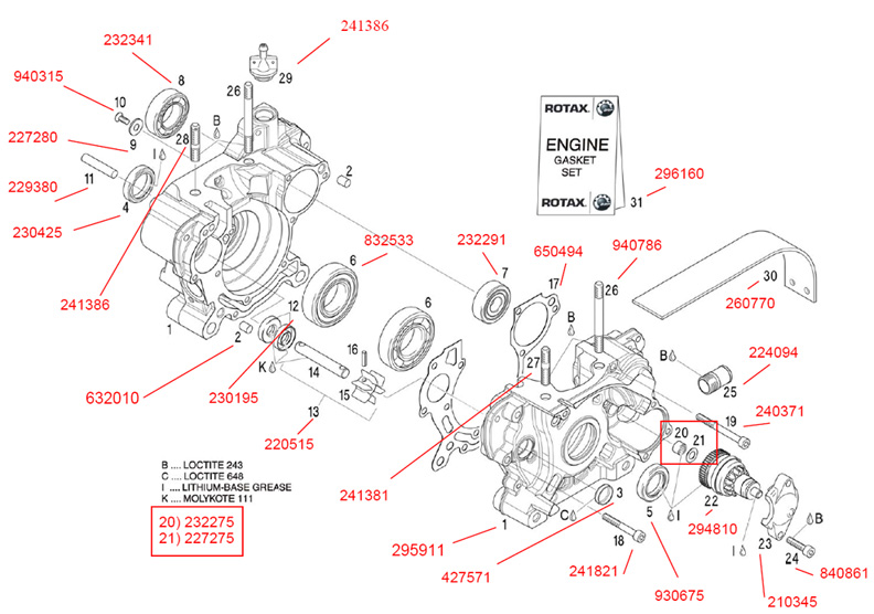 Crankcase, Water Pump, E-Starter Drive, Chain Guard