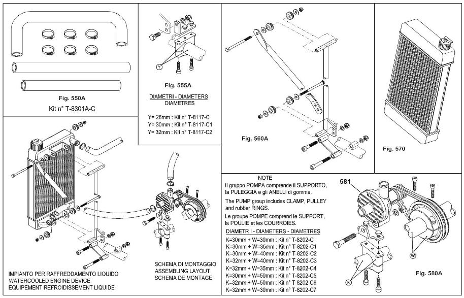 iame x30 water cooling system diagram and parts