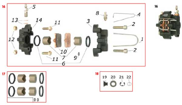 CRG, Ven04 Front Caliper and Parts