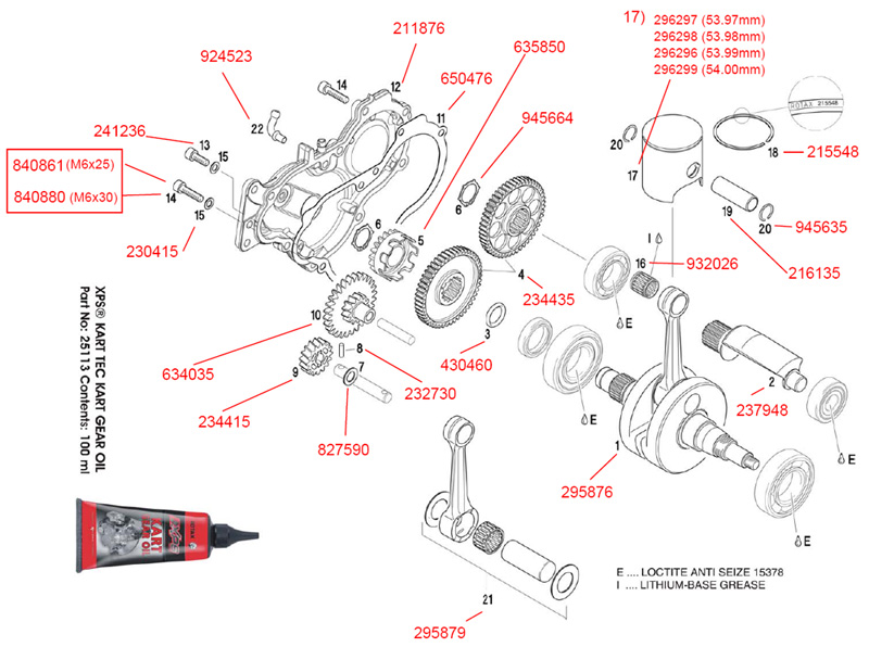 Crankshaft, Piston, Balance Shaft, Balance Drive, Water Pump Drive, Gearbox