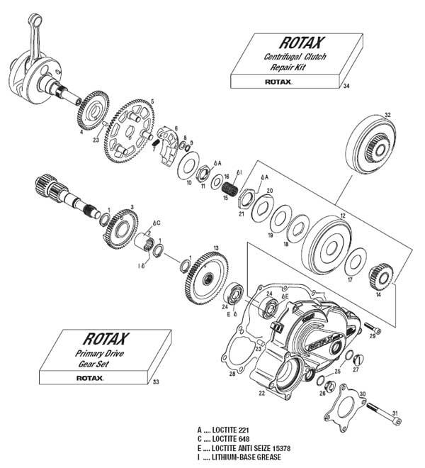 Centrifugal Clutch, Balance Shaft Driver, Primary Drive