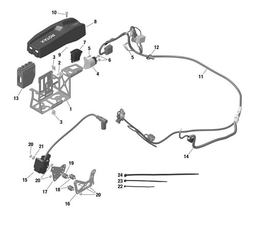 1 to 13. EVO Battery Mount and Wire Harness Assembly